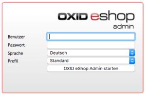 OXID Admin Login