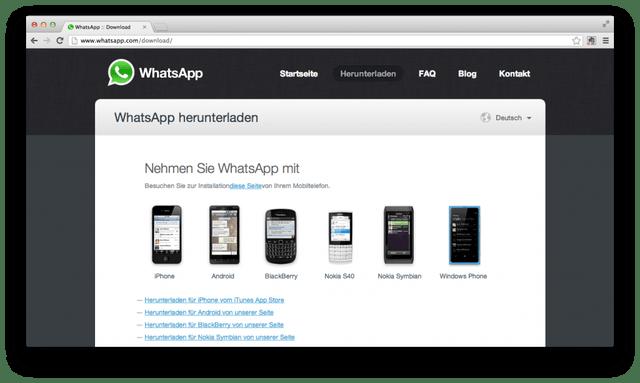 Whatsapp-Homepage: Hier kann man die neuste Version herunterladen