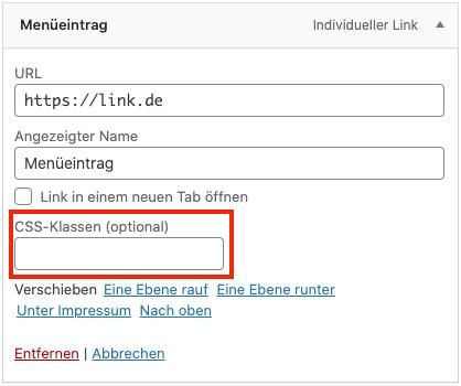 Bei Wordpress eine CSS Klasse zu einem Menüeintrag hinzufügen