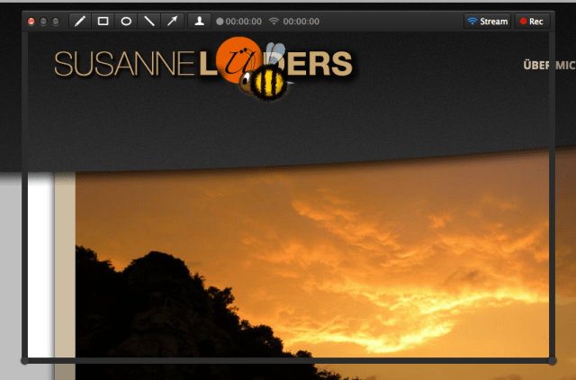 Fenster zur Aufnahme eines Screencasts