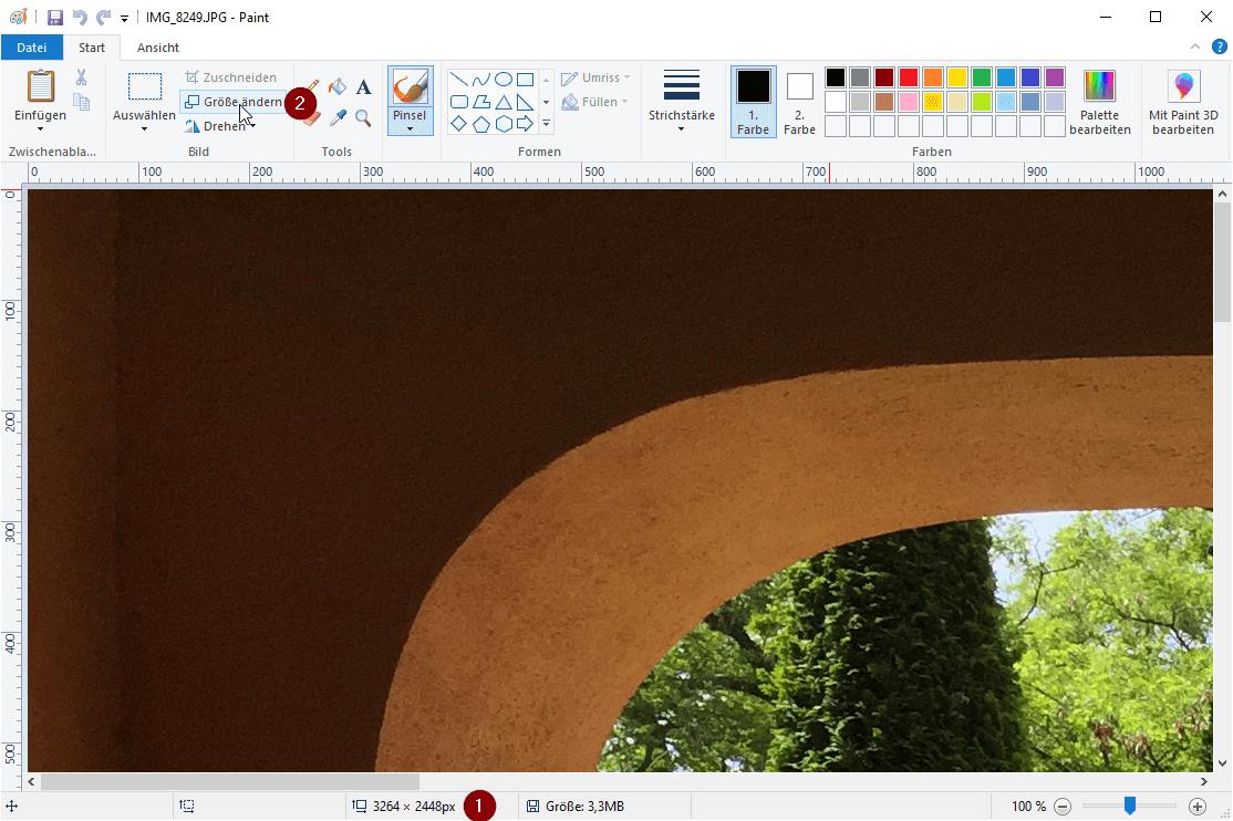 Größe ändern anklicken, um in Paint die Abmessungen des Bildes zu ändern