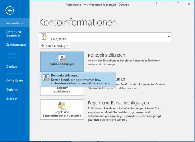 Outlook Fenster Kontoinformationen
