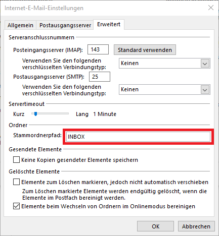 Outlook Internet E-Mail Einstellungen Fenster