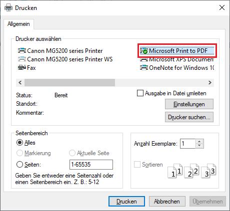 Microsoft Print to PDF im Drucken-Menü auswählen